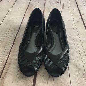 LifeStride Black Peep Toe Wedge